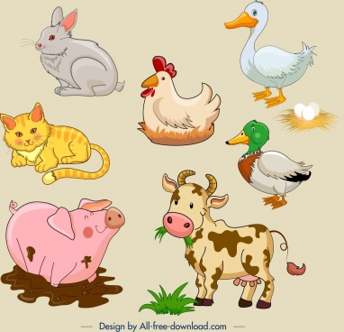 farm animals icons cute cartoon design