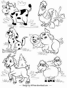 farm animals icons cute cartoon sketch handdrawn design