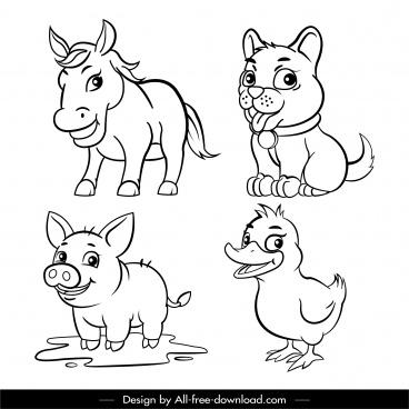 farm animals icons cute handdrawn cartoon sketch