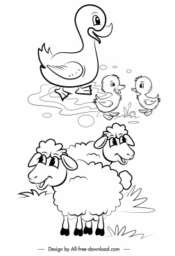 farm animals icons ducks sheep sketch handdrawn cartoon