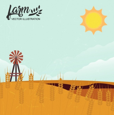 farm background yellow cereal windmill sun icons