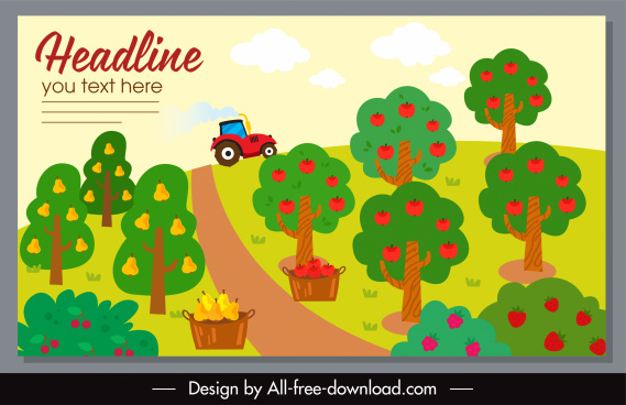 farm banner template colorful flat classical handdrawn sketch