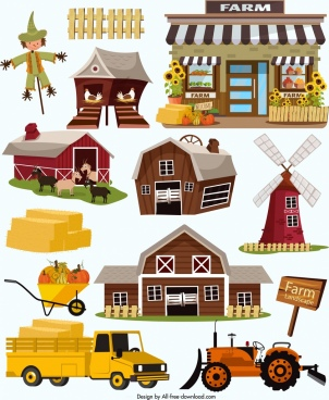 farm design elements classical colored icons