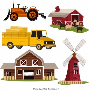 farm design elements machine windmill sty warehouse icons