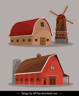 farm design elements warehouse windmill icons sketch