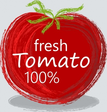 farm food advertising red tomato icon handdrawn sketch
