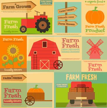 farm fresh food flat retro background vector