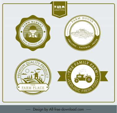 farm labels templates retro decor circle design