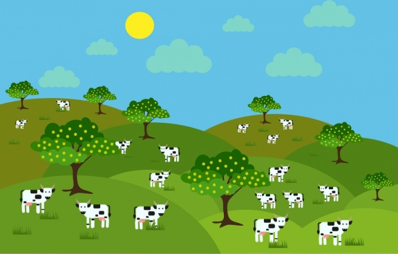 farm landscape background milk cows icons cartoon design