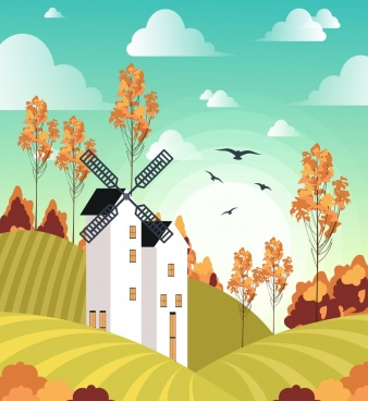 farm landscape drawing windmill field icons colored cartoon