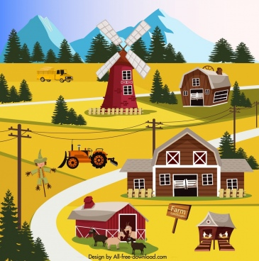 farm landscape painting colorful cartoon sketch