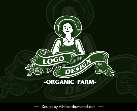 farm logo template handdrawn sketch farmer ribbon decor