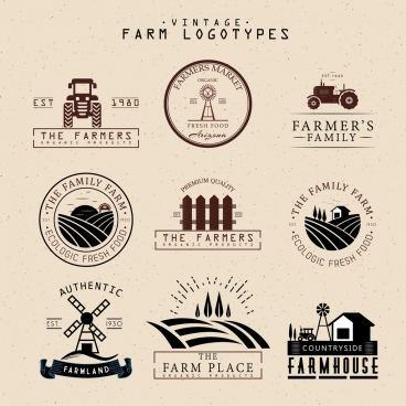 farm logotypes isolation classical flat design various shapes