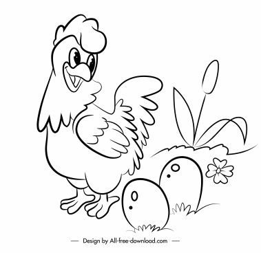 farm poultry icons hen eggs sketch handdrawn design