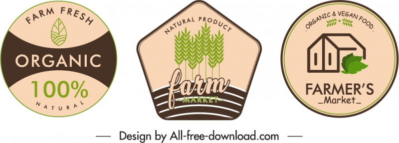 farm product badge template flat classical handdrawn decor