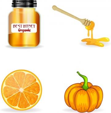 farm product icons honey orange pumpkin decor