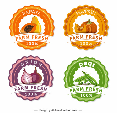 farm product labels papaya pumpkin onion peas sketch