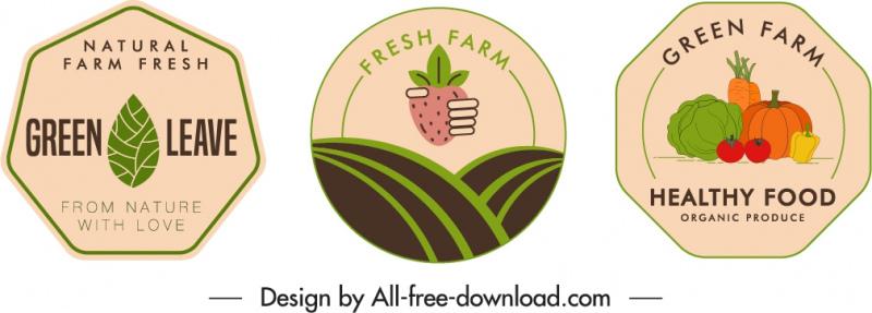 farm product labels templates flat classic handdrawn sketch