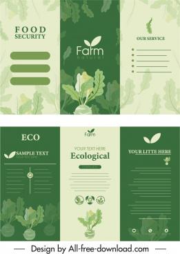 farm product leaflet template elegant green trifold shape