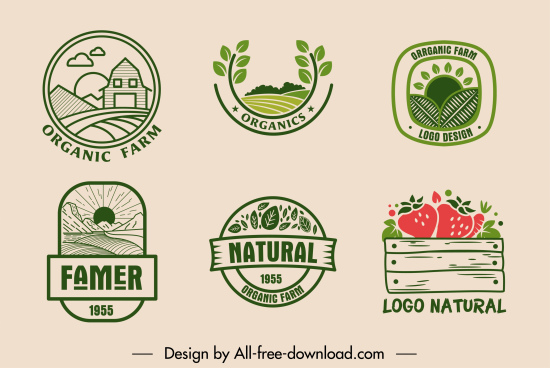 farm product logotype retro flat decor