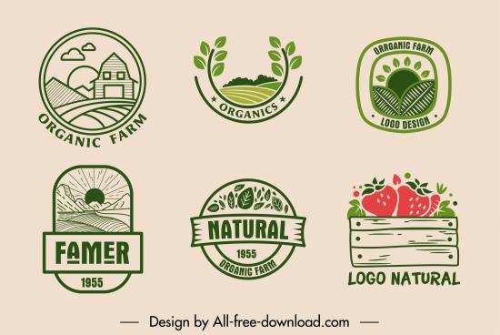 farm product logotype retro flat decor