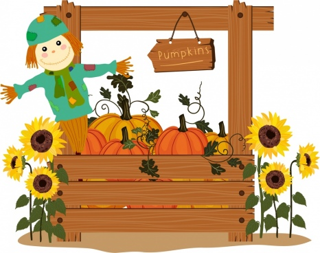farm products background wood pumpkins sunflowers dummy icons