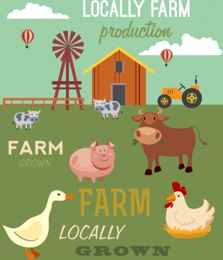 farm products banner colored cartoon retro design