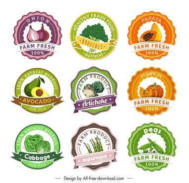 farm products labels templates fruits vegetables sketch