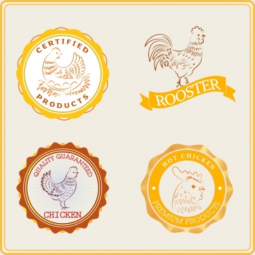 farm products logotypes chicken icon sketch