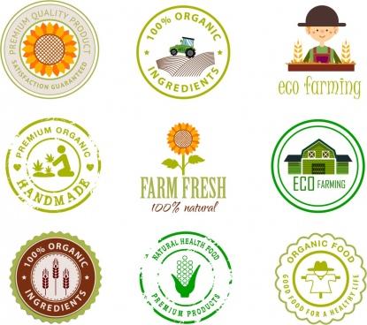 farm products logotypes various flat shapes isolation