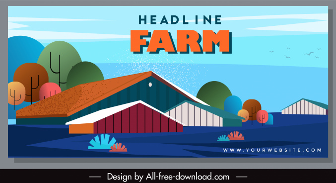 farm scene banner colorful classic sketch