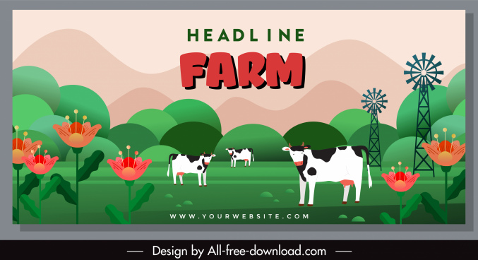 farm scene banner cows flowers sketch colorful classic