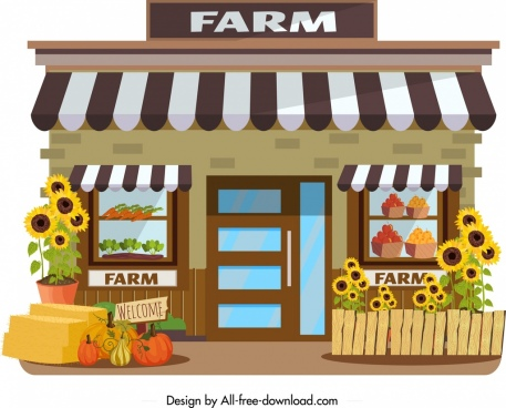 farm store icon agriculture products decor colorful design