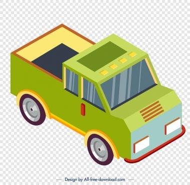 farm truck icon green 3d sketch