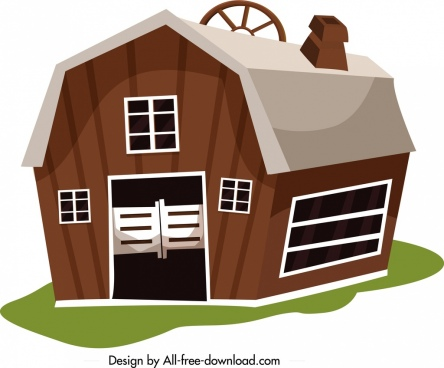 farm warehouse icon classical brown design