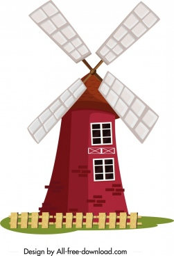 farm windmill icon colored classical design