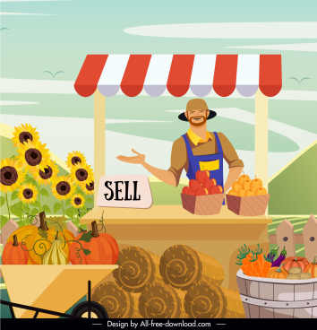 farm work background farmer products sale cartoon sketch