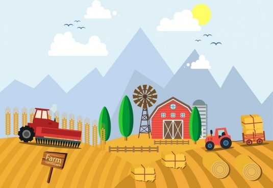 farm work background truck field windmill icons