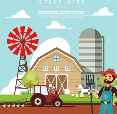 farm work drawing colored cartoon design