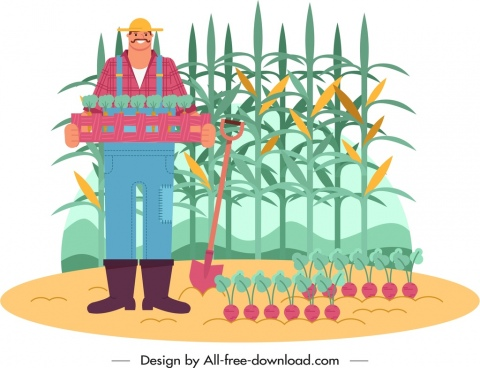 farm work painting farmer harvesting icon cartoon sketch