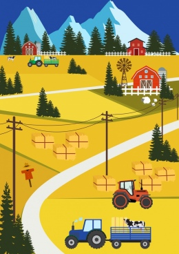 farm work painting field machine castle icons decor