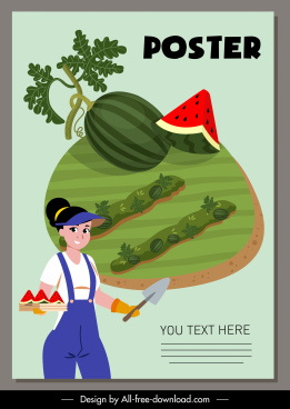 farm work poster farmer watermelon crop cartoon design