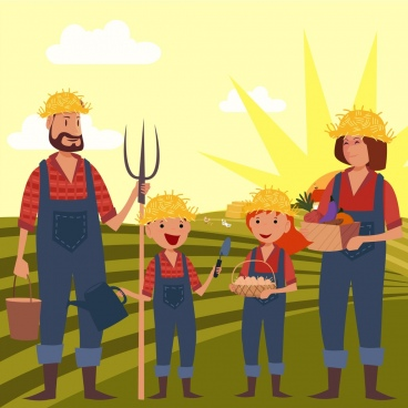 farmer family drawing human icons field landscape