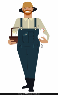 farmer job icon colored cartoon character
