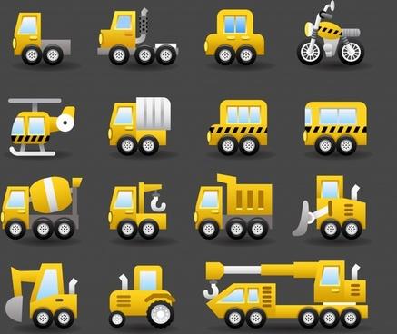 vehicles icons modern flat yellow sketch