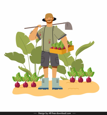 farmer work painting man agriculture products sketch