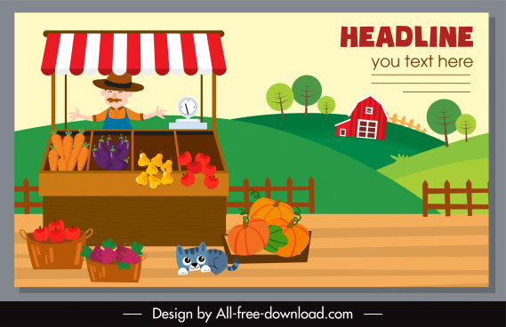farming agriculture banner vendor sketch colorful classic