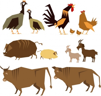 farming animals icons colored classical sketch