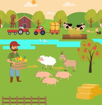 farming background colored cartoon design