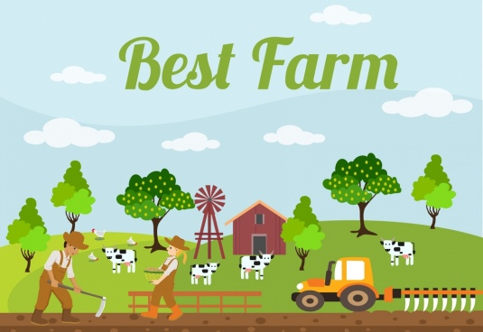 farming background colorful cartoon design